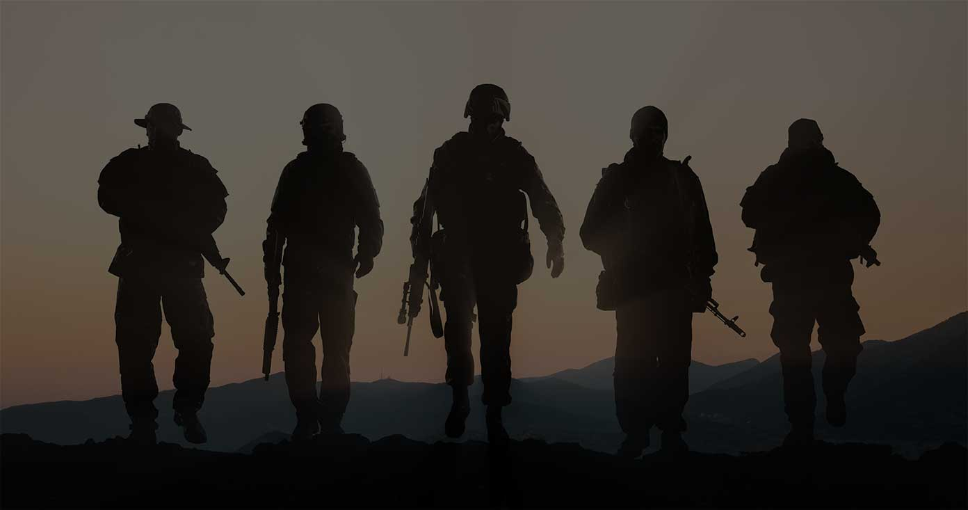 Soldiers silhouetted
